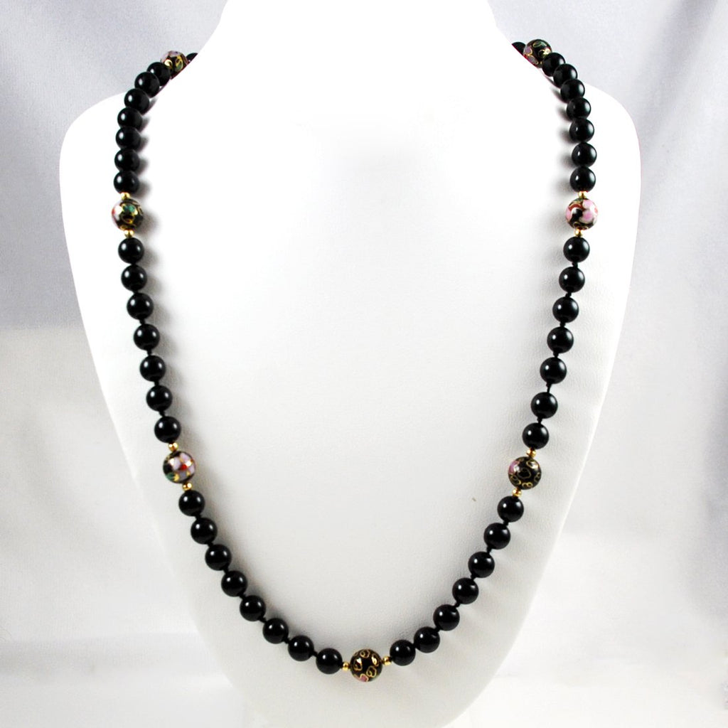 Black Cloisonne Beaded Necklace Vintage