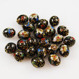 Black Cloisonne 10mm Oval Beads Vintage Chinese