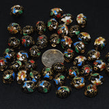 Vintage Black Cloisonne 10mm Oval Beads