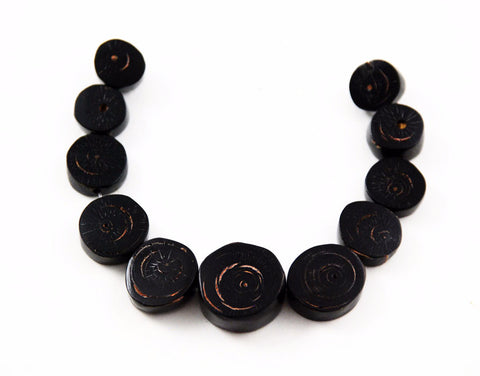 Black Coral Graduated Disk Beads Rare Natural AA Coral