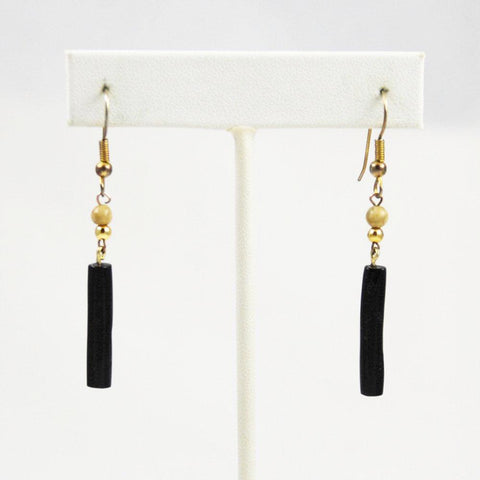 Black Coral Earrings Vintage Hawaiian