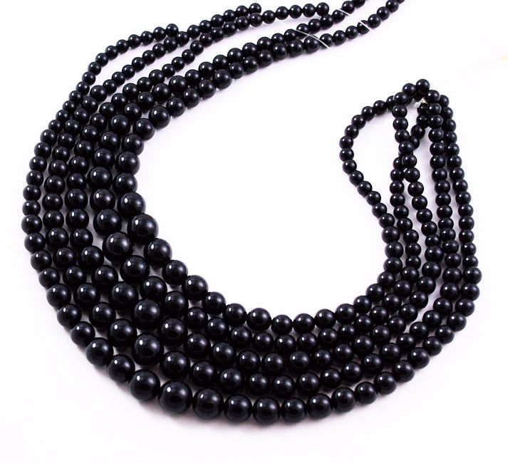 Vintage Black Coral Round Graduated Strands