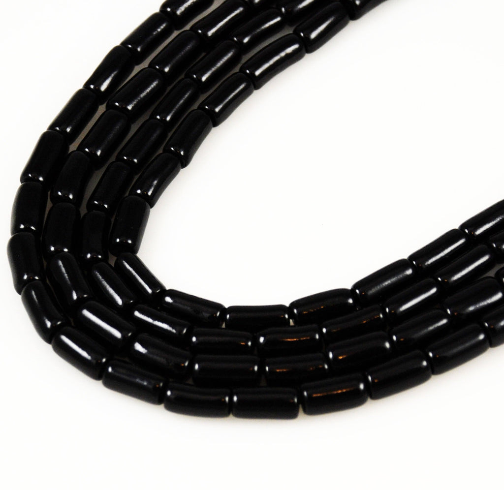 Black Coral Tube Beads 12mm Rare