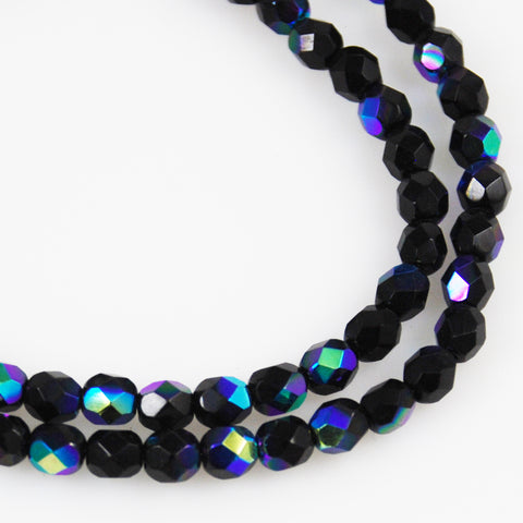 Black Peacock Faceted Glass Beads- Vintage