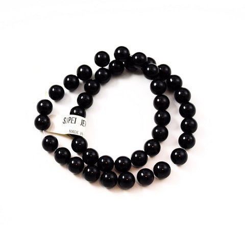Black Jade Round Gemstone Beads