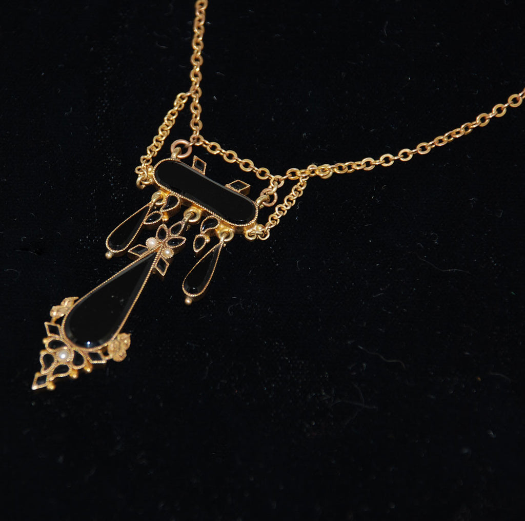 Gold Antique Edwardian Jet and Pearl Lavalier Necklace