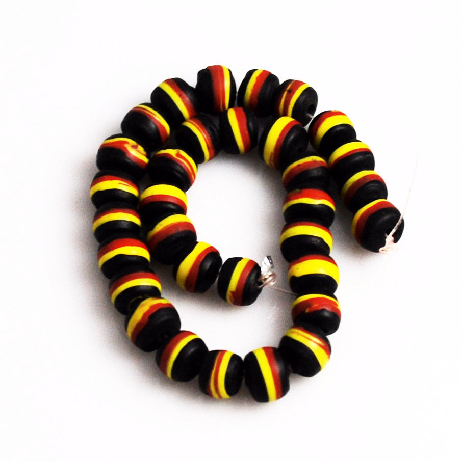 African Black Striped Beads 10mm
