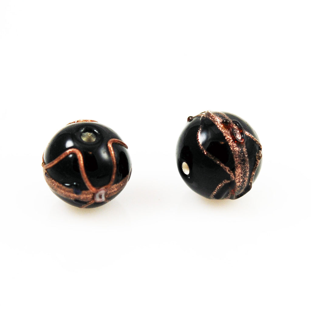 Black Wedding Cake Beads 16mm Rounds