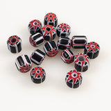Black, White and Red Chevron Beads