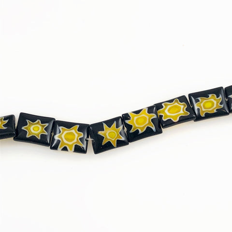 Glass Black & Yellow Star Millefiori Beads