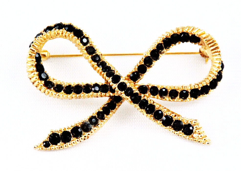 Black Rhinestone Crystal Bow Brooch Vintage