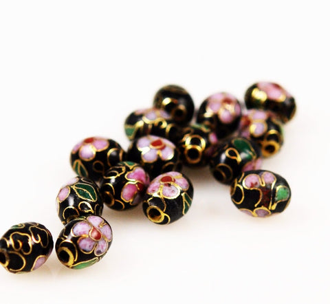 Black Cloisonne Oval Beads Chinese 9 x 7mm