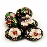 Cloisonne Black Oval Beads Vintage Chinese