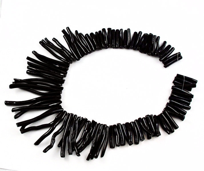 Vintage Extra Long Black Coral Stick Beads
