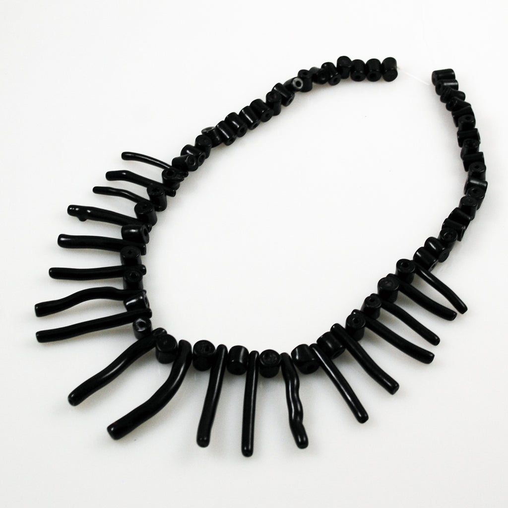 Black Coral Graduated Stick Beads