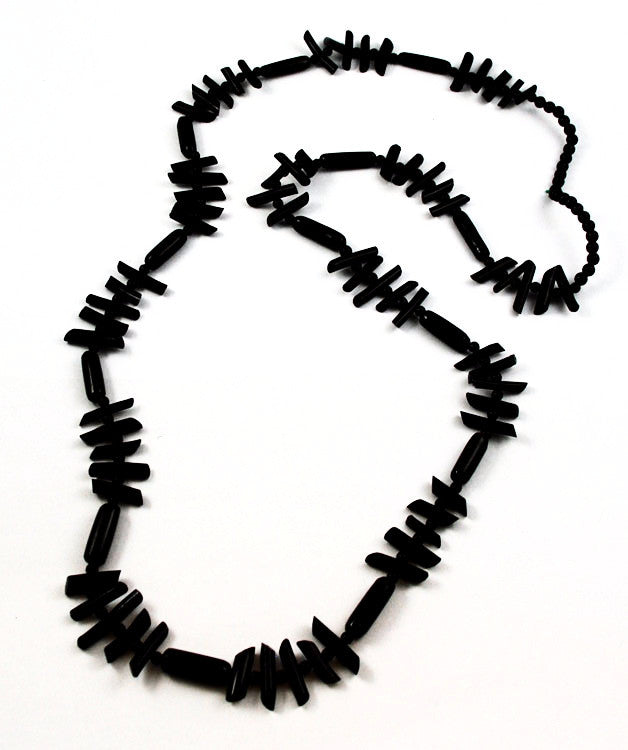 Extra Long Black Branch Coral Necklace Vintage