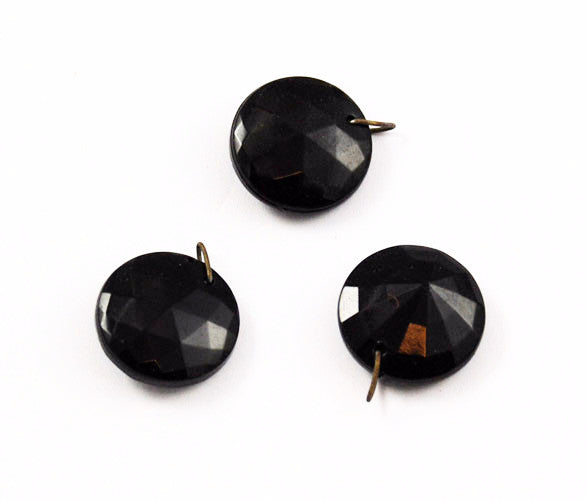 Faceted Black Dangler Pendant Beads