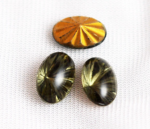 Black Diamond Gold Foil Oval Glass Cabochons