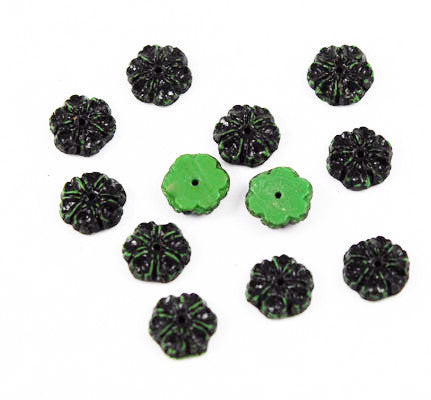 Green & Black Glass Floral Beads