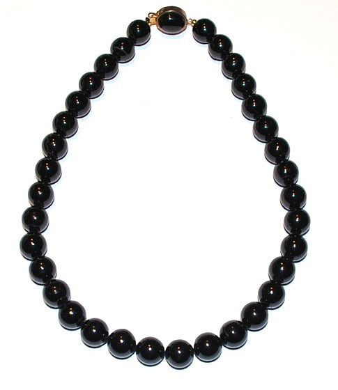 Vintage Black Coral Necklace 12mm Rounds