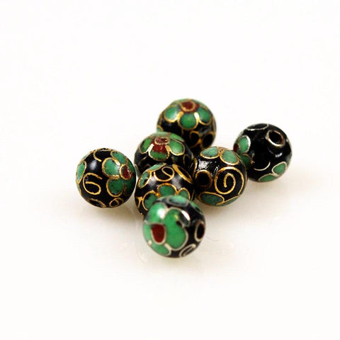 Cloisonne Black & Turquoise Round Beads