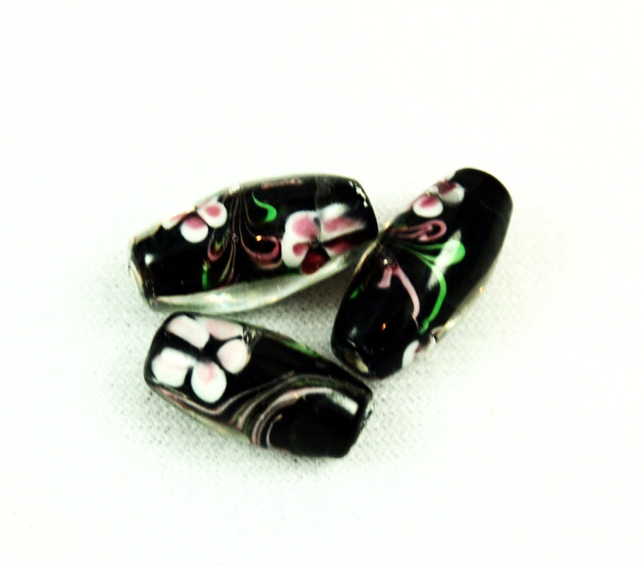 Black and Pink Lampwork Floral Glass Beads