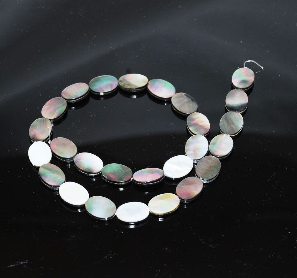 Black or Dark Gray Mother of Pearl Oval Beads
