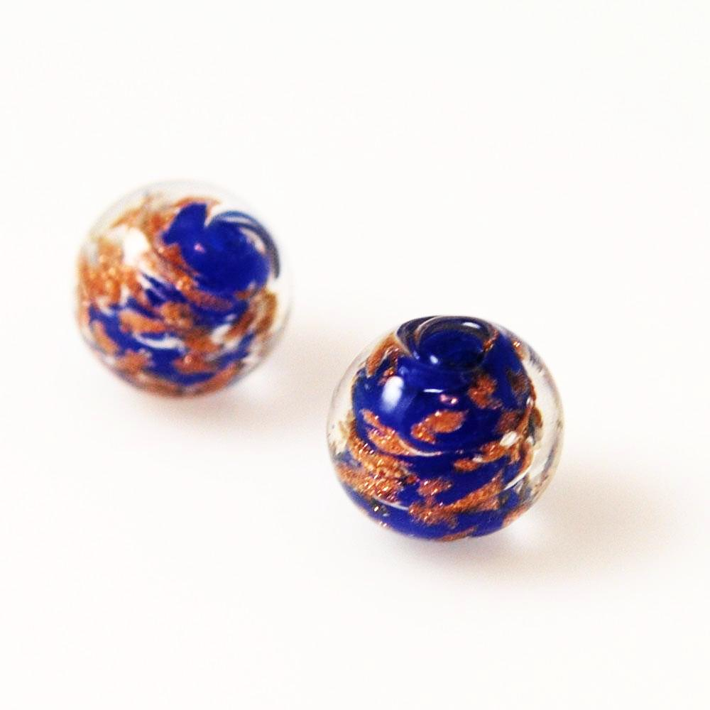 Blue and Copper Murano Lamp Work Beads