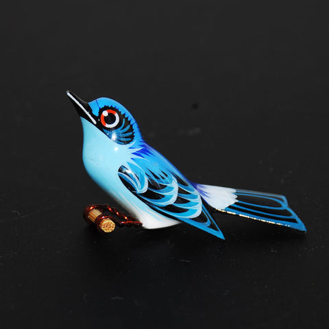 Blue Wood Bird Pin Brooch