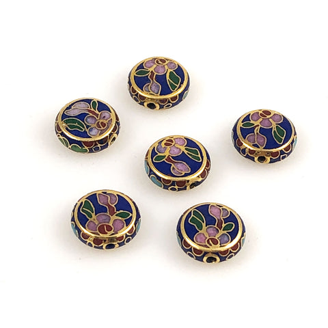 Blue Cobalt Cloisonne Coin Beads