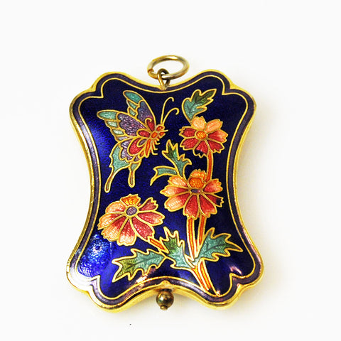 Navy Blue Cloisonne Pendant Vintage Chinese