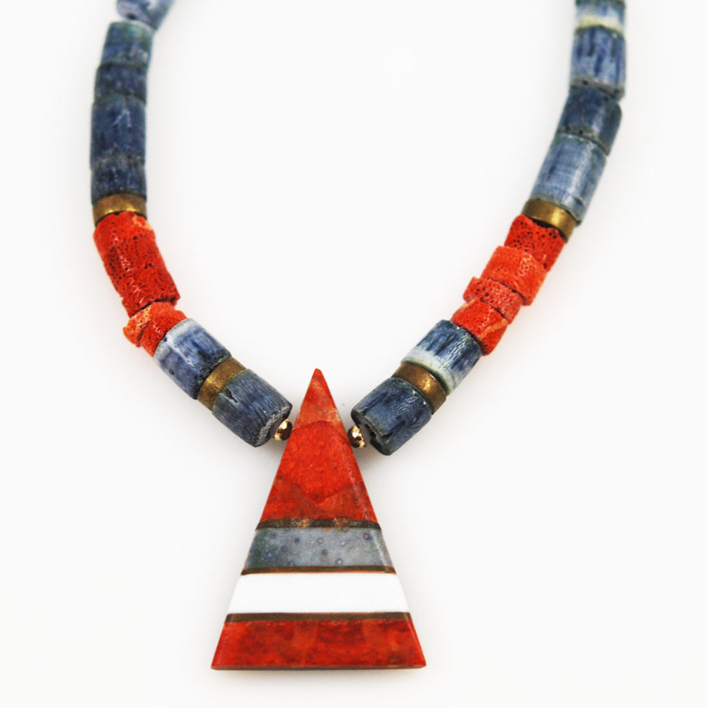 Red and Blue Denim Coral Necklace