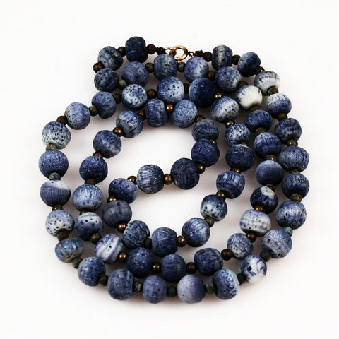 Blue Denim Coral Necklace Long Vintage
