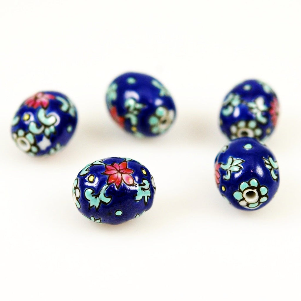 Blue Porcelain Chinese Enamel Floral Beads
