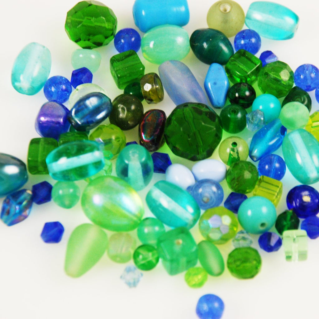 Vintage Blue Green Glass Beads