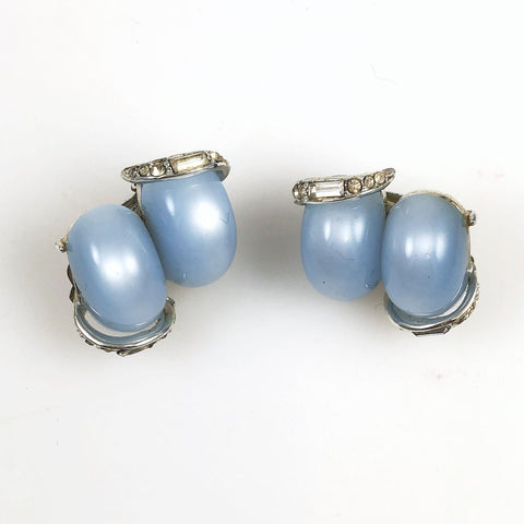Vintage Kramer Blue Moonglow Earrings Clip On