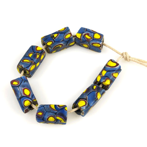 Blue & Yellow Millefiori African Trade Beads