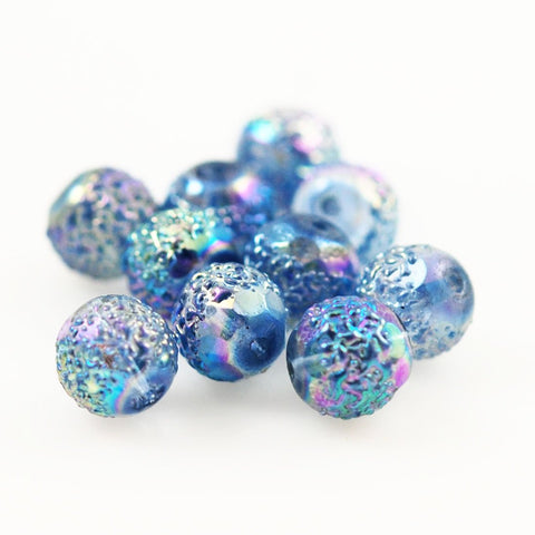 Blue Sugar Glass Beads 12mm Vintage German AB