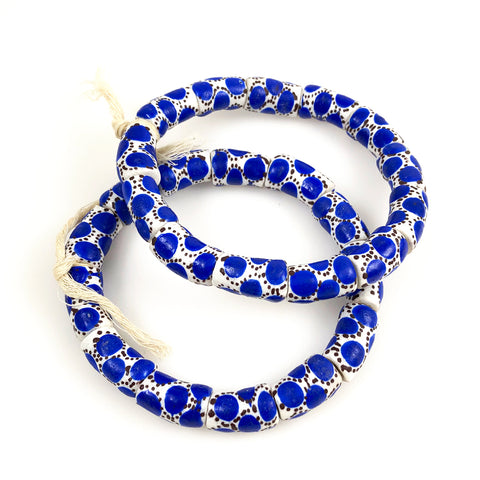 African Spotted Blue Krobo Powder Glass Bead Bracelets