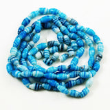 Turquoise Blue Striped Oval Glass Beads