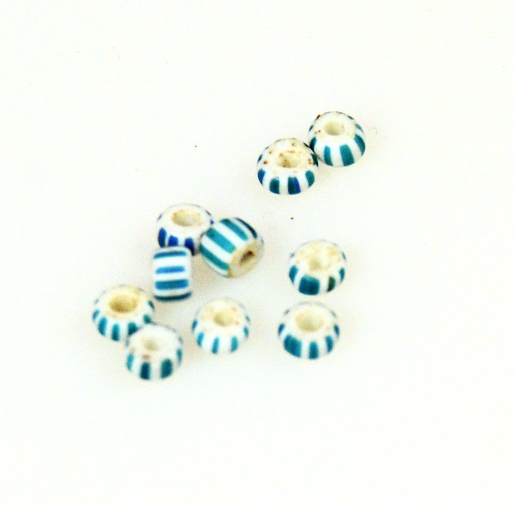 Blue & White Venetian Striped Awala Trade Beads