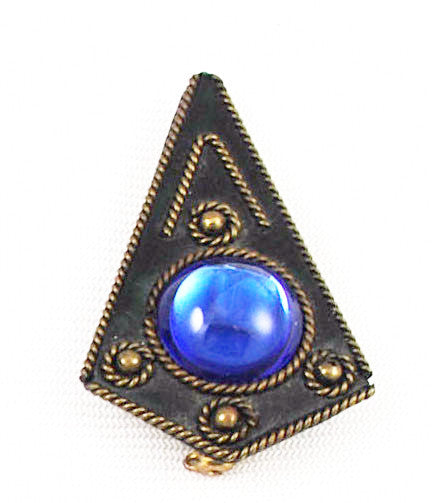 Art Deco Style Blue Glass Brooch Vintage