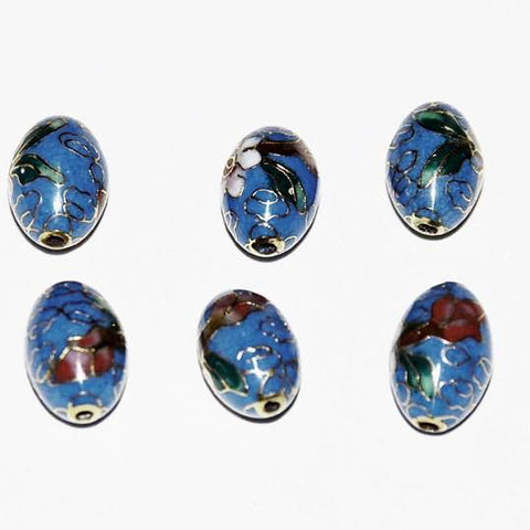 Blue Cloisonne Oval Beads Vintage Chinese