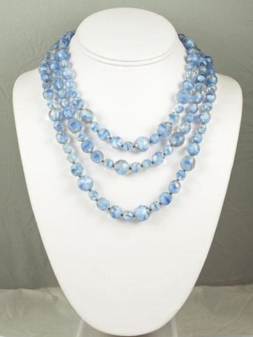Triple Strand Blue Givre Necklace