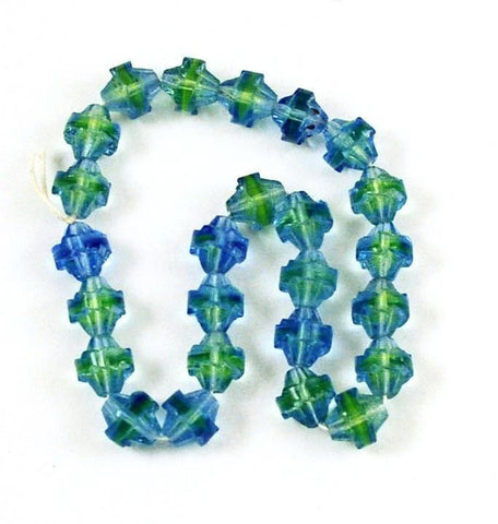Blue & Green Saturn Glass Uranium Beads