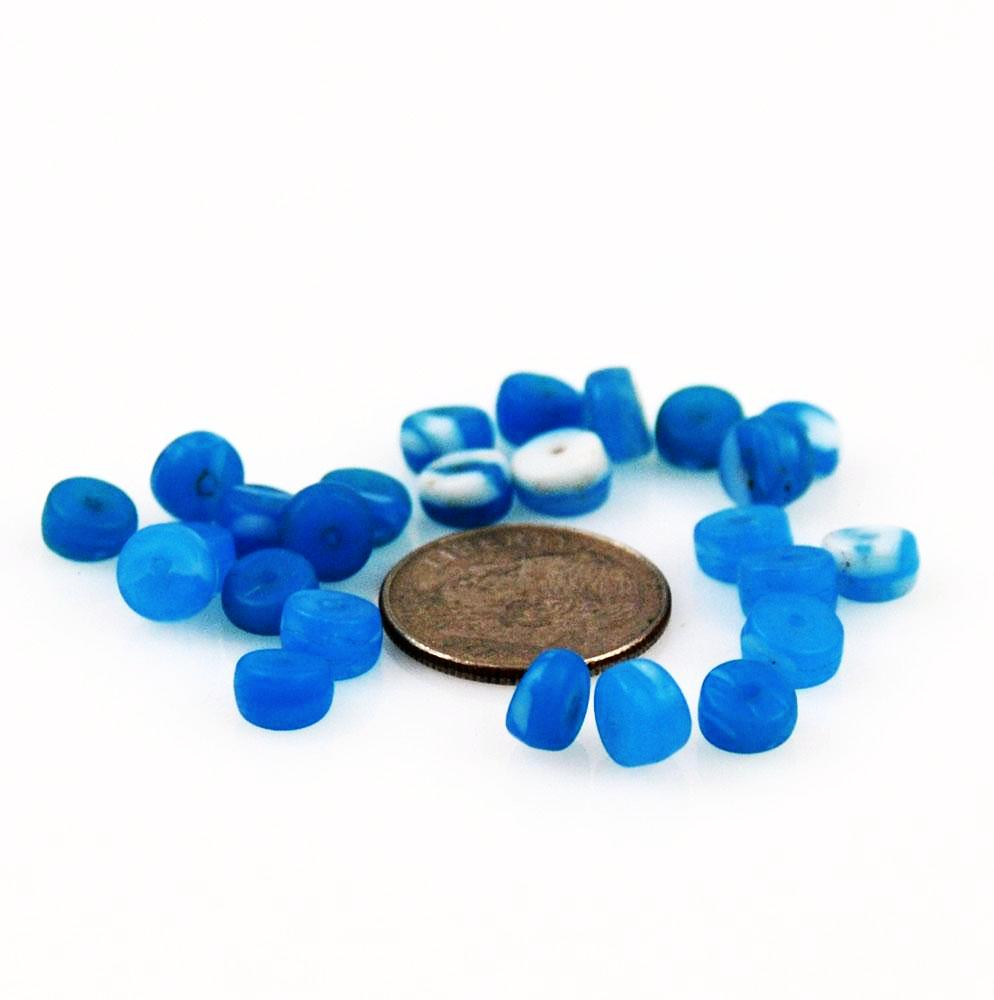 African Trade Beads Kancamba Blue & White Glass 6mm