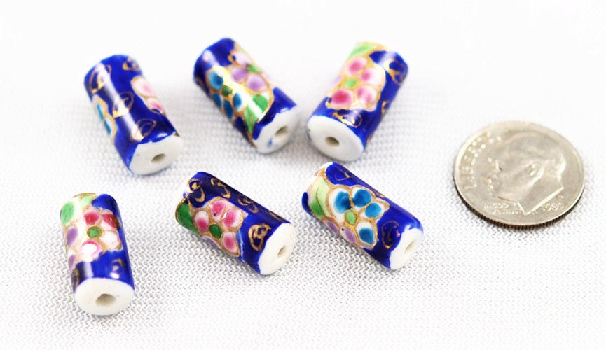 Cobalt Blue Porcelain Tube Beads NOS