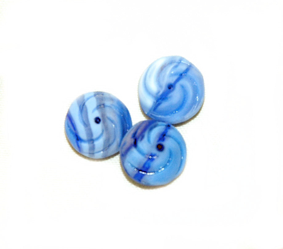 Frosted Blue Swirl Glass Beads- Vintage NOS
