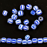 Blue & White Chevron Beads