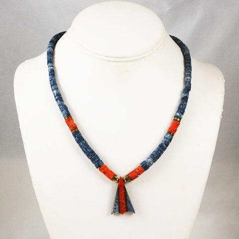 Red and Blue Denim Sponge Coral Necklace Vintage